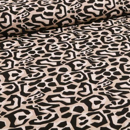 Tissu Toile Coton Formes abstraites sur fond Naturel - Par 10 cm