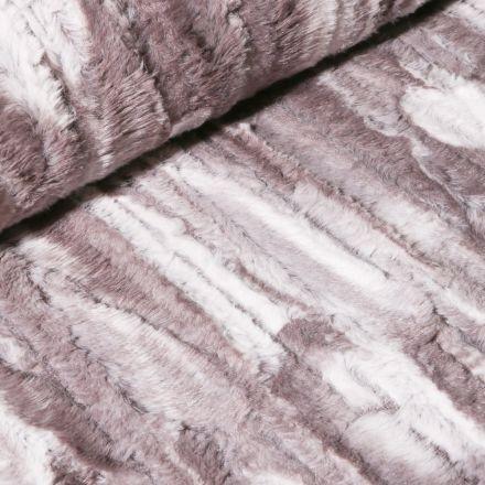 Tissu Fausse fourrure  Peau de bête sur fond Gris - Par 10 cm
