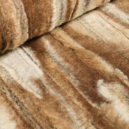 Tissu Fausse fourrure  Peau de bête sur fond Marron - Par 10 cm