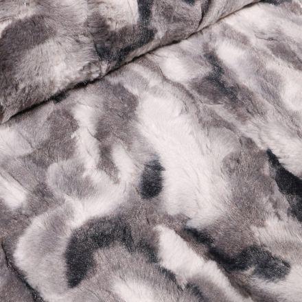 Tissu Fausse fourrure tâcheté sur fond Gris - Par 10 cm
