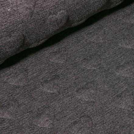 Tissu Sweat Cœurs en relief sur fond Gris anthracite - Par 10 cm