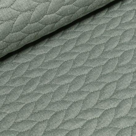 Tissu Sweat  Tressé sur fond Vert d'eau - Par 10 cm