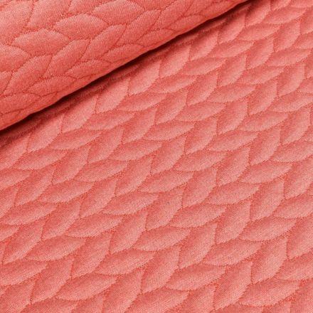 Tissu Sweat  Tressé sur fond Corail - Par 10 cm