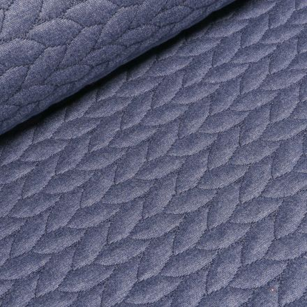 Tissu Sweat  Tressé sur fond Bleu denim - Par 10 cm