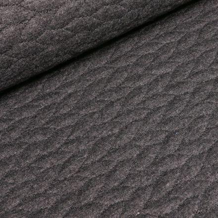 Tissu Sweat  Tressé sur fond Gris anthracite - Par 10 cm