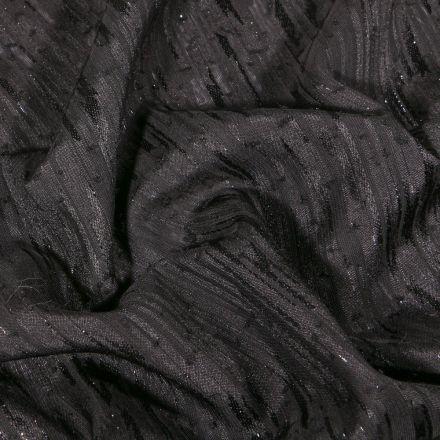 Tissu Voile lurex Rayures sur fond Gris anthracite - Par 10 cm