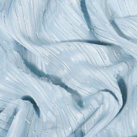 Tissu Voile lurex Rayures sur fond Bleu ciel - Par 10 cm