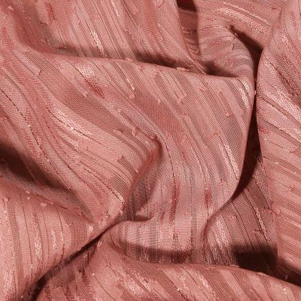 Tissu Voile lurex Rayures sur fond Vieux rose - Par 10 cm