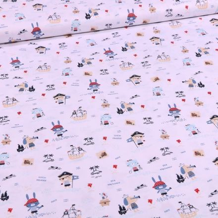 Tissu Coton imprimé Bio Animaux pirates sur fond Blanc - Par 10 cm