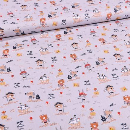 Tissu Coton imprimé Bio Animaux pirates sur fond Gris - Par 10 cm