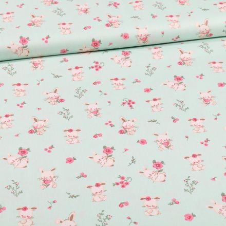 Tissu Coton imprimé Bio Lapinou sur fond Vert menthe - Par 10 cm