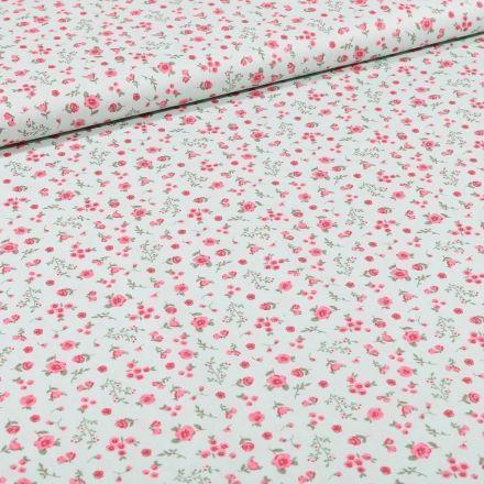 Tissu Coton imprimé Bio Fleurs sur fond Vert menthe - Par 10 cm