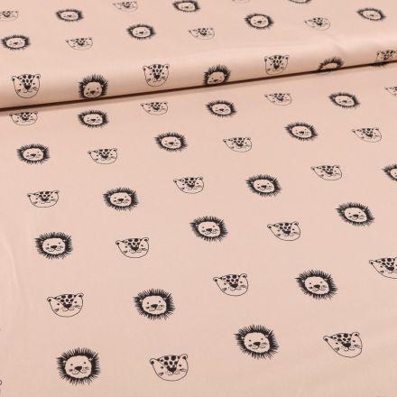 Tissu Coton imprimé Bio Têtes d'animaux sur fond Beige - Par 10 cm