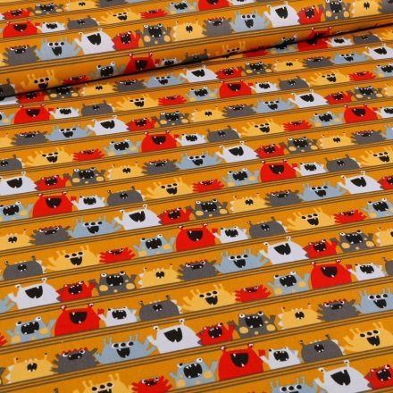 Tissu Coton imprimé Bio Monstres sur fond Jaune moutarde - Par 10 cm