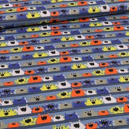 Tissu Coton imprimé Bio Monstres sur fond Bleu - Par 10 cm