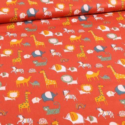 Tissu Coton imprimé Bio Animaux de la savane sur fond Orange - Par 10 cm