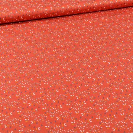 Tissu Coton imprimé Bio Pois multicolores sur fond Orange - Par 10 cm