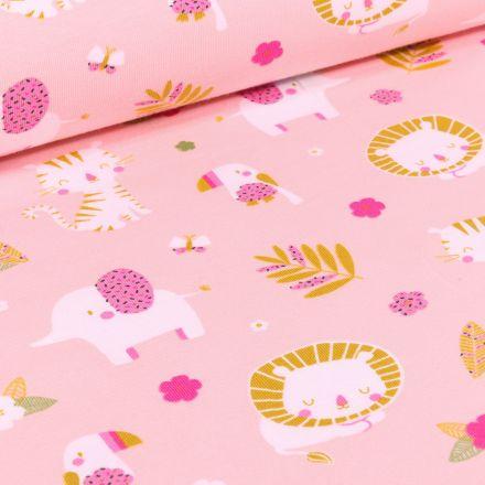 Tissu Jersey Coton Animaux et feuillages sur fond Rose