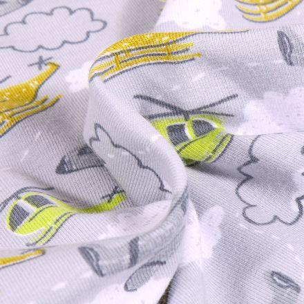 Tissu Jersey Coton Hélicoptère sur fond Gris