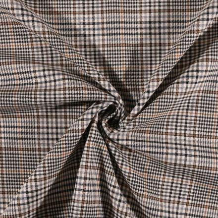 Tissu gabardine légère Petits carreaux noirs et ocre sur fond Blanc cassé - Par 10 cm
