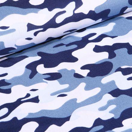 Tissu Coton imprimé Camouflages sur fond Bleu