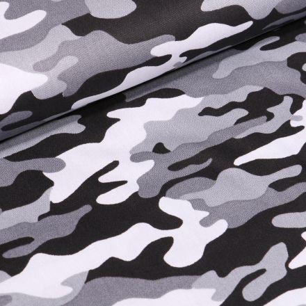 Tissu Coton imprimé Camouflages sur fond Noir