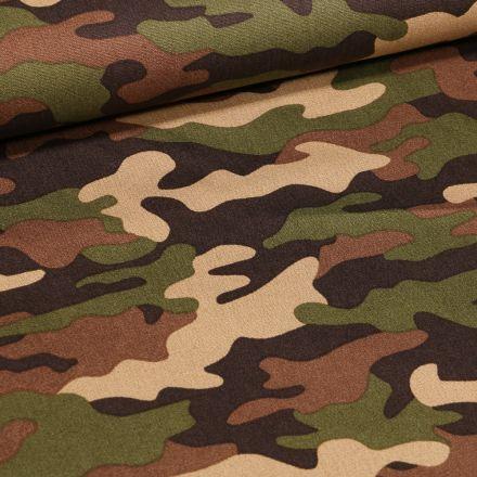 Tissu Coton imprimé Camouflages sur fond Vert kaki