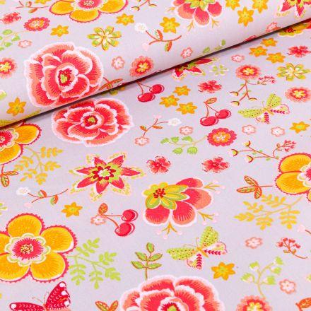 Tissu Coton imprimé LittleBird Diverses fleurs colorés sur fond Gris clair