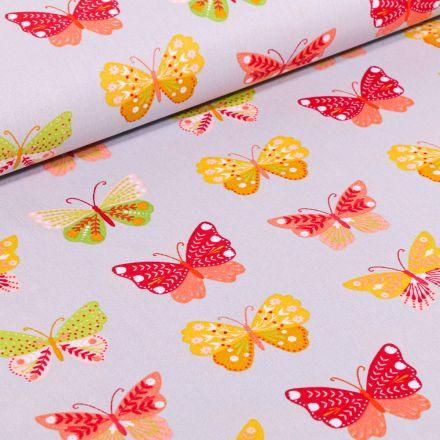 Tissu Coton imprimé LittleBird Papillons multicolores sur fond Gris clair