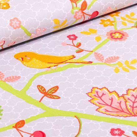 Tissu Coton imprimé LittleBird Oiseaux et fleurs multicolores sur fond Gris clair