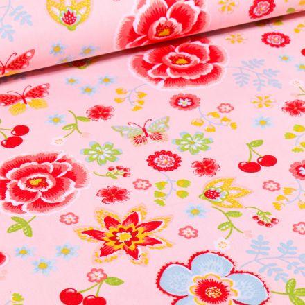 Tissu Coton imprimé LittleBird Cerises et fleurs multicolores sur fond Gris clair