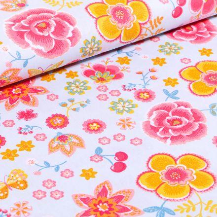Tissu Coton imprimé LittleBird Diverses fleurs colorés sur fond Bleu