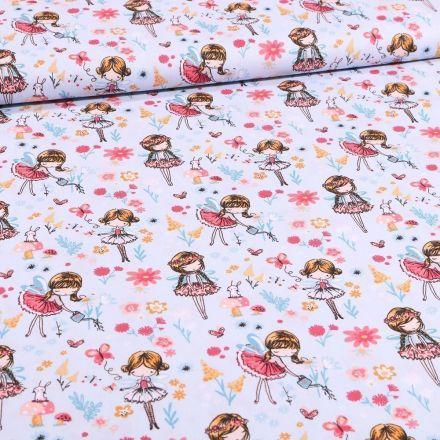 Tissu Coton imprimé Danseuses et pâquerettes sur fond Bleu ciel - Par 10 cm