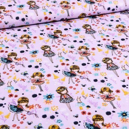 Tissu Coton imprimé Danseuses et pâquerettes sur fond Lilas - Par 10 cm