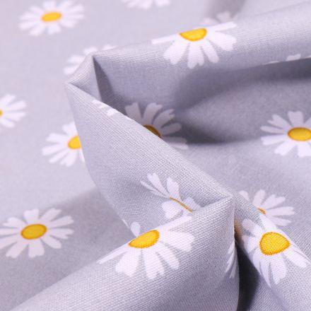 Tissu Coton imprimé LittleBird Pâquerettes sur fond Gris