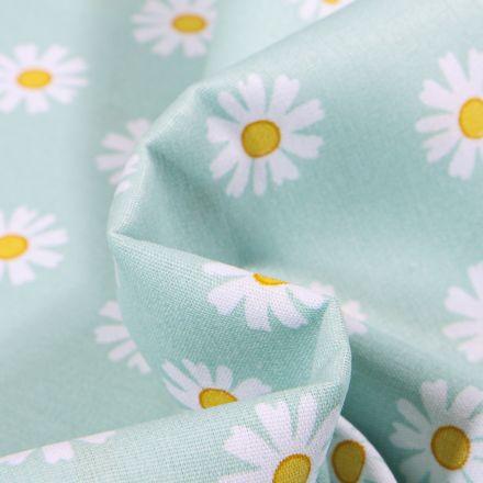 Tissu Coton imprimé LittleBird Pâquerettes sur fond Vert menthe