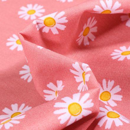 Tissu Coton imprimé LittleBird Pâquerettes sur fond Corail