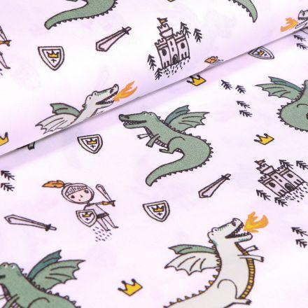 Tissu Coton imprimé LittleBird Dragons et chevaliers sur fond Blanc
