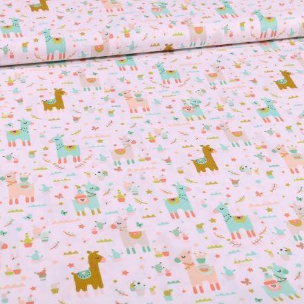 Tissu Coton imprimé LittleBird Lamas et cactus sur fond Blanc - Par 10 cm
