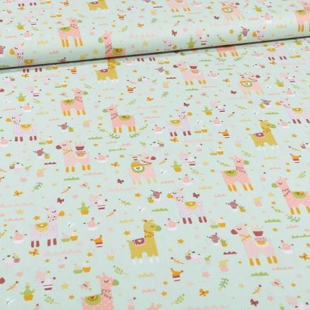 Tissu Coton imprimé LittleBird Lamas et cactus sur fond Vert menthe - Par 10 cm
