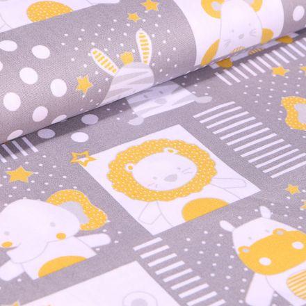 Tissu Coton imprimé LittleBird Baby animaux sur fond Gris