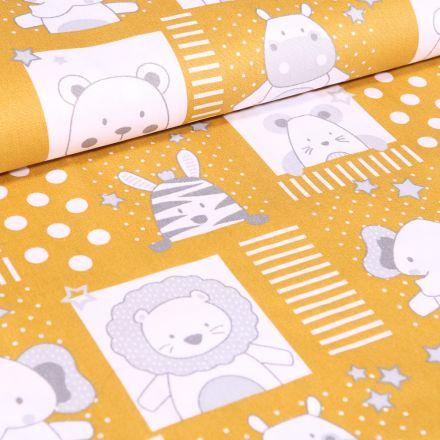 Tissu Coton imprimé LittleBird Baby animaux sur fond Jaune