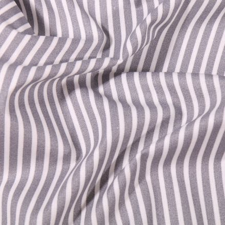 Tissu Coton enduit Fines rayures blanches sur fond Gris clair - Par 10 cm