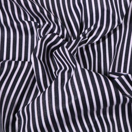 Tissu Coton enduit Fines rayures blanches sur fond Bleu marine - Par 10 cm