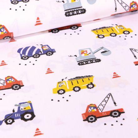 Tissu Coton imprimé LittleBird Camion benne et grue sur fond Blanc