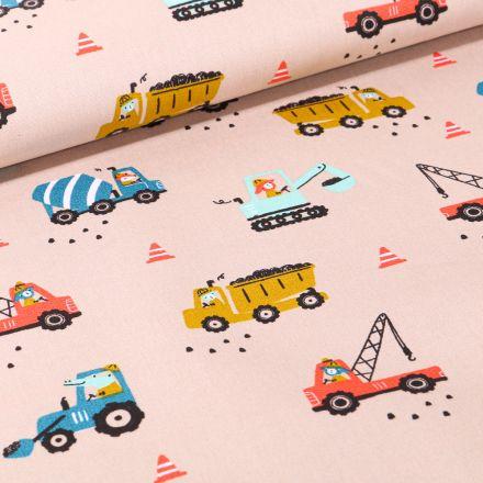 Tissu Coton imprimé LittleBird Camion benne et grue sur fond Beige
