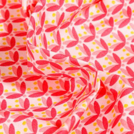 Tissu Coton enduit Pétales et pois rose sur fond Blanc