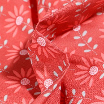 Tissu Coton enduit Pâquerettes sur fond Rouge