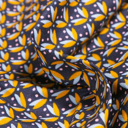 Tissu Coton enduit Pétales et pois jaunes sur fond Bleu nuit