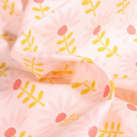 Tissu Coton enduit Pâquerettes rose et jaune sur fond Blanc